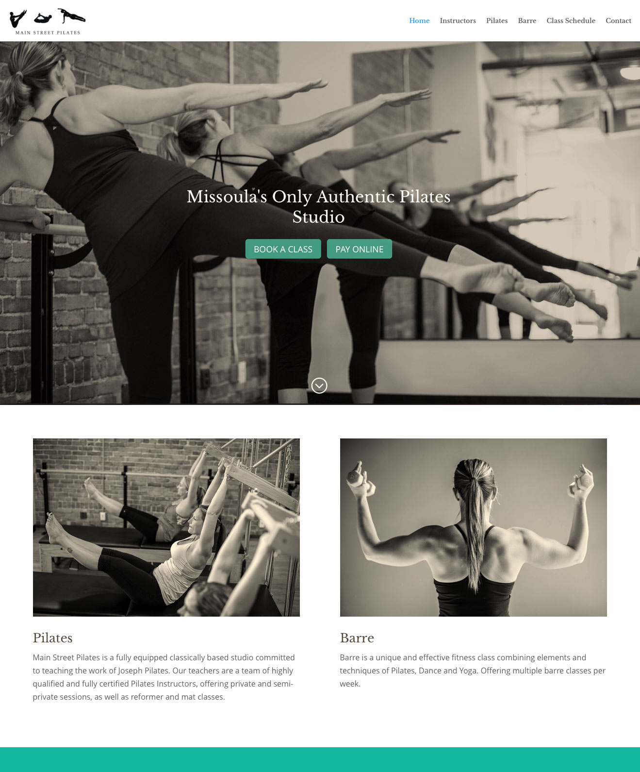 Main Street Pilates website